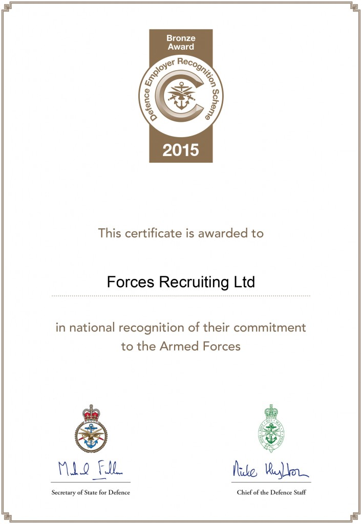Forces Recruiting Ltd certificate